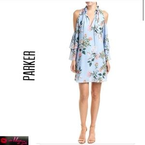 PARKER Daphne Floral Print Cold Shoulder Dress
